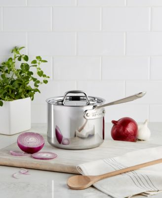 allclad stainless steel 2 qt covered saucepan