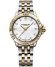Women's Swiss Tango Diamond-Accent Two-Tone Stainless Steel Bracelet Watch 30mm 5960-STP-00995