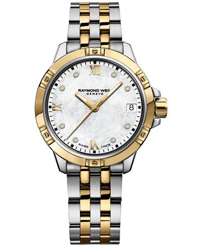 RAYMOND WEIL Women's Swiss Tango Diamond-Accent Two-Tone Stainless Steel Bracelet Watch 30mm 5960-STP-00995