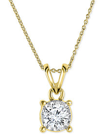 "TruMiracle® Diamond Pendant 18"" Necklace in 14k Gold, Rose Gold or White Gold (1/2 ct. t.w.)"