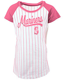 5th & Ocean Seattle Mariners Pinstripe T-Shirt, Girls (4-16)