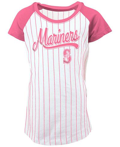 5th & Ocean Seattle Mariners Pinstripe T-Shirt, Girls (4-16)