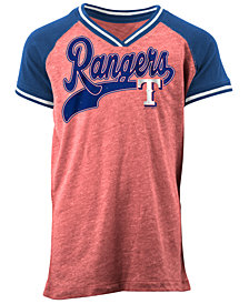 5th & Ocean Texas Rangers Rhinestone Script T-Shirt, Girls (4-16)