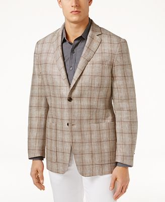 Tasso Elba Men's Classic-Fit Textured Plaid Linen Sport Coat ...