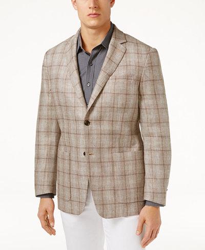 Tasso Elba Men's Classic-Fit Textured Plaid Linen Sport Coat ...