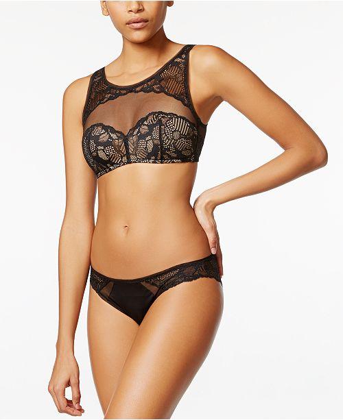 ffba9bf8f0 Calvin Klein Linger Lace High-Neck Bralette   Bikini   Reviews - Bras ...