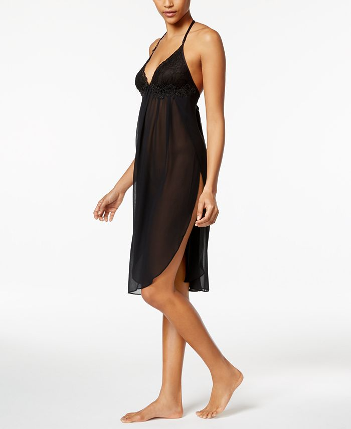 Linea Donatella - Juliet Lace-Trimmed Chiffon Midi Nightgown