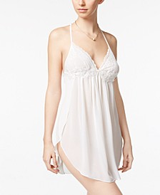 Juliet Lace-Trimmed Chiffon Chemise Nightgown
