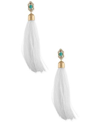 RACHEL Rachel Roy Gold-Tone Blue Stone & White Tassel Drop Earrings