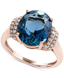 Ocean Bleu by EFFY® London Blue Topaz (5-1/3 ct. t.w.) and Diamond (1/8 ct. t.w.) Ring in 14k Rose Gold