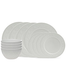 Godinger Dublin White 12-Piece Dinnerware Set, Service for 4