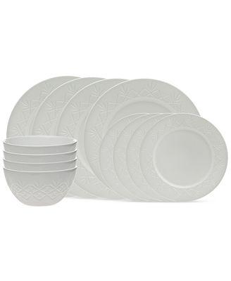 Godinger Dublin White 12-Piece Dinnerware Set, Service for 4