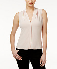Calvin Klein Pleated Blouse, Regular & Petite