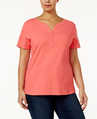 Image of Karen Scott Plus Size Cotton Henley T-Shirt, Created for Macy's