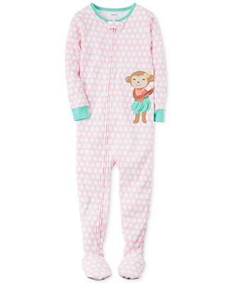 Carter's 1-Pc. Hula Monkey Footed Pajamas, Toddler Girls (2T-5T ...