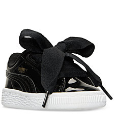 Puma Toddler Girls' Basket Heart Patent Casual Sneakers from Finish Line