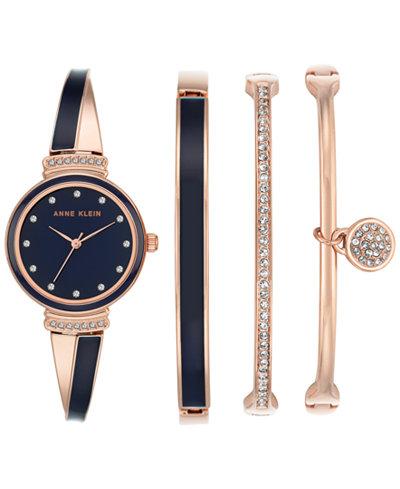 Anne Klein Women's Swarovski Crystal Navy Blue Bracelet Watch and Bangle Set 32mm AK-2716RNST