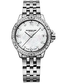 Women's Swiss Tango Diamond-Accent Stainless Steel Bracelet Watch 30mm 5960-STS-00995