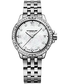 RAYMOND WEIL Women's Swiss Tango Diamond-Accent Stainless Steel Bracelet Watch 30mm 5960-STS-00995