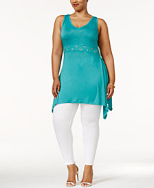 Belldini Plus Size Handkerchief-Hem Tunic