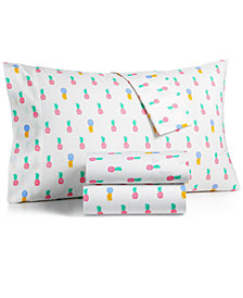 CLOSEOUT! Whim by Martha Stewart  Collection Novelty Print Twin 3-pc  Sheet Set, 200 Thread Count 100% Cotton Percale, Created for Macy's
