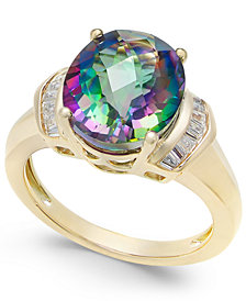 Mystic Topaz (4-9/10 ct. t.w.) and White Topaz (1/4 ct. t.w.) Ring in 14k Gold-Plated Sterling Silver