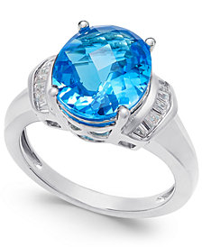 Swiss Blue Topaz (4-9/10 ct. t.w.) and White Topaz (1/4 ct. t.w.) Ring in Sterling Silver