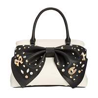 Betsey Johnson Big Bow Large Satchel (Cream/blk)