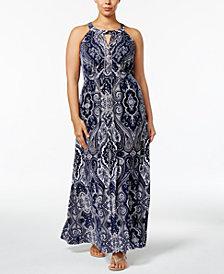 I.N.C. Plus Size Beaded Maxi Dress, Created for Macy's