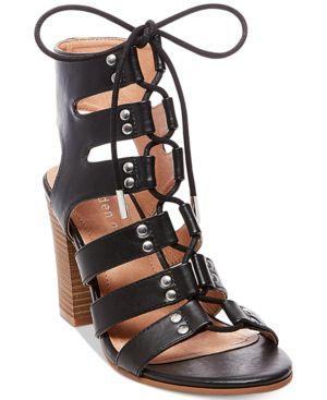 Madden Girl Nyles Lace-Up Block-Heel Sandals Women