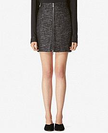 Avec Les Filles High-Waist Zip-Front Tweed Mini Skirt