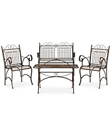 Dario Outdoor 4-Pc. Seating Set (1 Loveseat, 2 Chairs & 1 Coffee Table)
