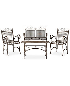 Dario Outdoor 4-Pc. Seating Set (1 Loveseat, 2 Chairs & 1 Coffee Table), Quick Ship
