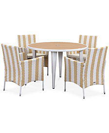 Deven Outdoor 5-Pc. Stripe Dining Set (Dining Table & 4 Chairs), Quick Ship
