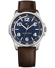 Tommy Hilfiger Men's Essential Brown Leather Strap Watch 42mm 1791375, Created for Macy's