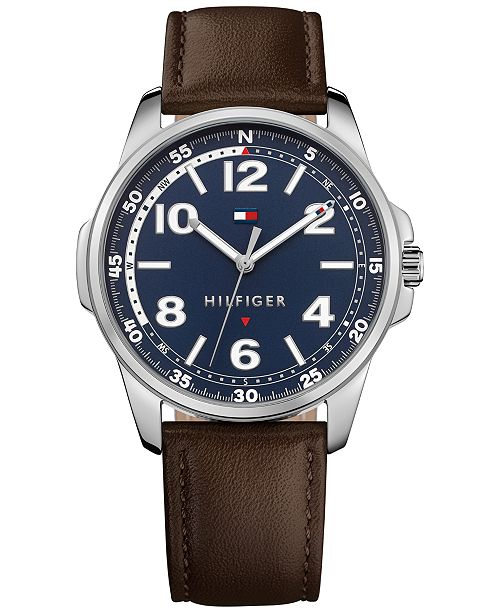 Tommy Hilfiger Men's Essential Brown Leather Strap Watch 42mm , Created for Macy's