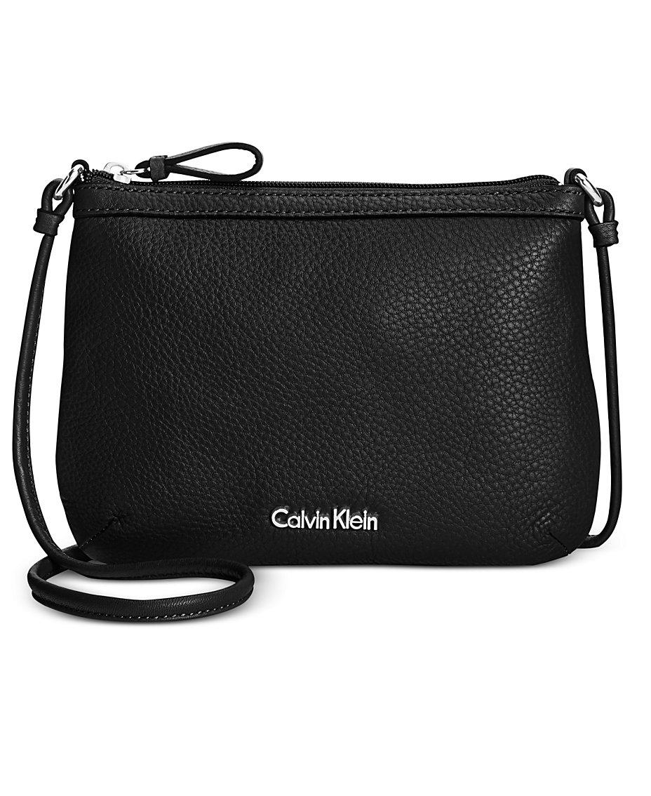 7248bcec1ef0 Calvin Klein Carrie Pebble Leather Crossbody   Reviews - Handbags    Accessories - Macy s