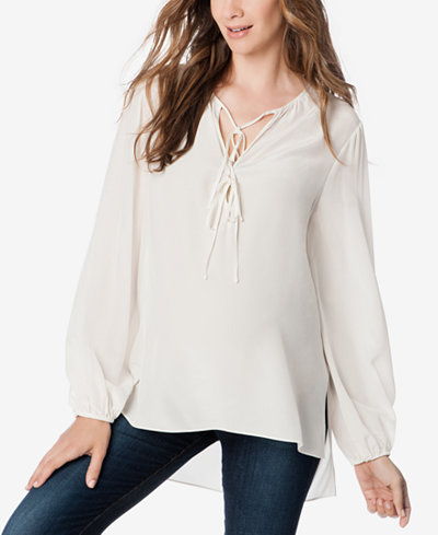 BCBGMAXAZRIA Maternity Split-Neck Blouse