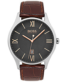 BOSS Hugo Boss Men's Governor Dark Brown Leather Strap Watch 44mm 1513484