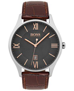 Men'S Governor Dark Brown Leather Strap Watch 44Mm 1513484, Grey/ Brown