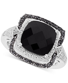 Onyx (10mm) and Diamond (1/8 ct. t.w.) Ring in Sterling Silver