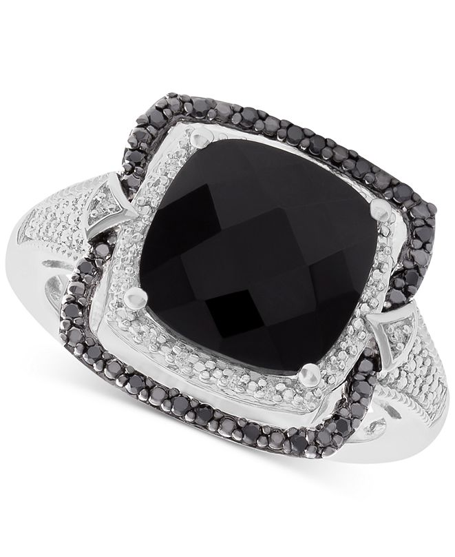 Macy's Onyx (10mm) and Diamond (1/8 ct. t.w.) Ring in Sterling Silver