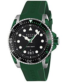 Gucci Men's Swiss Dive Green Rubber Strap Watch 40mm YA136310