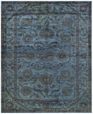 macyu0027s fine rug gallery one of a kind overdyed zeigler k445047 grey 5u0027 - 6x9 Rugs