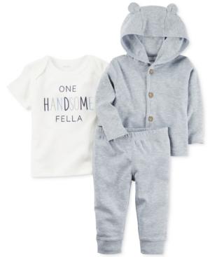 Carters 3Pc Handsome Fella TShirt Hoodie  Pants Set Baby Boys (024 months)