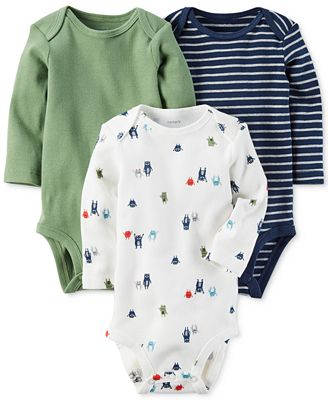Carter's 3-Pk. Monster Cotton Bodysuits, Baby Boys