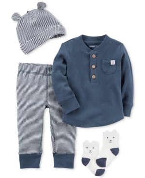 Carters 4Pc Cotton Hat Top Pants  Socks Set Baby Boys (024 months)