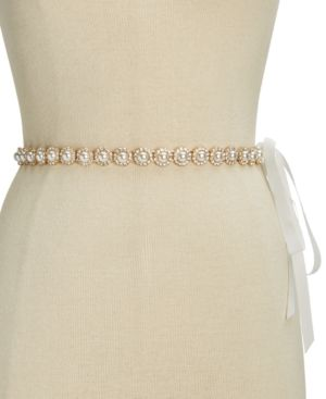 Crystal & Imitation Pearl Belt in Cream/Gold