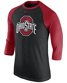 Nike Men's Ohio State Buckeyes Triblend Logo 3/4 Sleeve Raglan T-Shirt