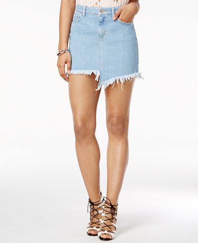 GUESS Stella Cotton Asymmetrical Denim Skirt